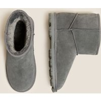 MandS Womens Suede Faux Fur Lining Boots - 3 - Grey, Grey,Chestnut,Black