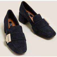 M&S Womens Suede Buckle Block Heel Loafers - 3.5 - Navy, Navy
