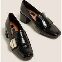 M&S Womens Leather Patent Buckle Block Heel Loafers - 5.5 - Black, Black