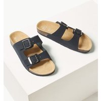 M&S Womens Leather Footbed Sandals - 7 - Navy, Navy,Yellow,Dark Tan