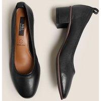 MandS Womens Leather Slip On Block Heel Court Shoes - 3.5 - Black, Black,Pink