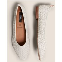 M&S Womens Leather Flat Ballet Pumps - 3 - Stone, Stone,Metallic