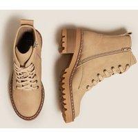 M&S Womens Hiker Lace Up Block Heel Ankle Boots - 4 - Light Beige, Light Beige