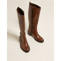 M&S Womens Leather Buckle Knee High Boots - 3 - Chocolate, Chocolate,Black