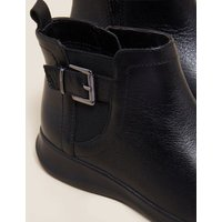 MandS Womens Wide Fit Leather Buckle Wedge Ankle Boots - 3.5 - Black, Black