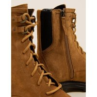 M&S Womens Wide Fit Suede Lace Up Ankle Boots - 3.5 - Tan, Tan