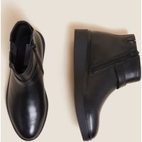MandS Womens Wide Fit Leather Wedge Ankle Boots - 3.5 - Black, Black