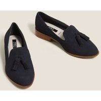 M&S Womens Wide Fit Suede Tassel Loafers - 3.5 - Navy, Navy