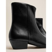 M&S Womens Leather Western Chisel Toe Ankle Boots - 3.5 - Black, Black