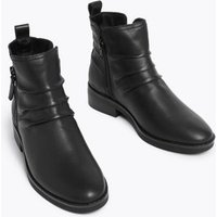 M&S Womens Leather Ruched Ankle Boots - 3 - Black, Black