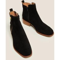 M&S Womens Suede Flat Square Toe Ankle Boots - 5.5 - Black, Black,Sand