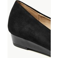 MandS Womens Suede Wedge Court Shoes - 3 - Black, Black