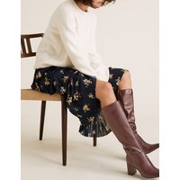 M&S Womens Block Heel Square Toe Knee High Boots - 3.5 - Berry, Berry,Black