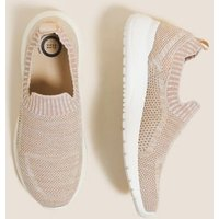 M&S Goodmove Womens Slip On Knitted Trainers - 5.5 - Pale Gold, Pale Gold