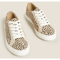 M&S Womens Lace Up Leopard Print Trainers - 3.5 - Natural Mix, Natural Mix