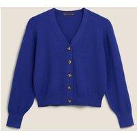 M&S Womens Soft Touch V-Neck Button Front Cardigan - Rich Blue, Rich Blue,Cream
