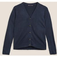 M&S Womens Supersoft V-Neck Button Front Cardigan - 6 - Navy, Navy,Black