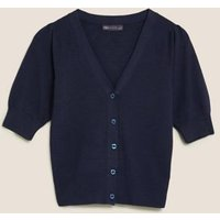MandS Womens Soft Touch V-Neck Cardigan - 6 - Navy, Navy,Pink Shell,Cream,Emerald