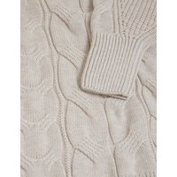 M&S Womens Cotton Cable Knit Crew Neck Jumper - XS - Fawn, Fawn,Dusky Rose
