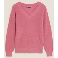 M&S Womens Cotton Textured V-Neck Jumper - XS - Dusky Rose, Dusky Rose,Oatmeal