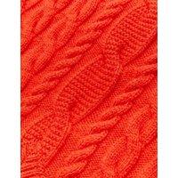 M&S Womens Cable Knit V-Neck Sleeveless Jumper - XS - Bright Orange, Bright Orange,Light Cream