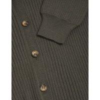 M&S Womens Cotton Ribbed Knitted Shirt - Dark Khaki, Dark Khaki