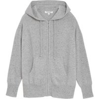 M&S Autograph Womens Pure Cashmere Textured Relaxed Hoodie - XS - Grey Mix, Grey Mix