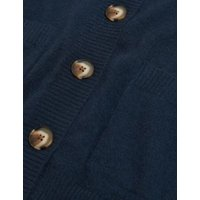 MandS Autograph Womens Pure Cashmere V-Neck Button Front Cardigan - XS - Navy, Navy,Oatmeal