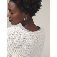 M&S Womens Cotton Textured Jumper - XS - Cream, Cream,Onyx