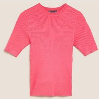 MandS Womens Ribbed Crew Neck Fitted Short Sleeve Jumper - 8 - Very Pink, Very Pink,Navy,Medium Blue,Soft White,Black,Sunflower,Bright Green