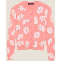 M&S Womens Floral Crew Neck Button Front Cardigan - 8 - Pink Mix, Pink Mix