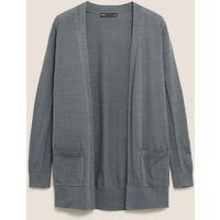 MandS Womens Pure Cotton Relaxed Cardigan - 6 - Medium Blue, Medium Blue,Soft White,Navy,Grey Marl