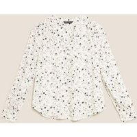 M&S Womens Ditsy Floral V-Neck Long Sleeve Blouse - 16 - Ivory Mix, Ivory Mix