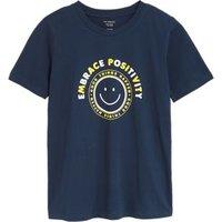M&S Womens Pure Cotton Slogan Straight Fit T-Shirt - 8 - Navy Mix, Navy Mix,White Mix