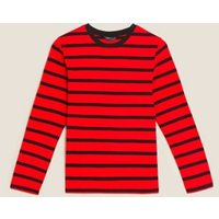 M&S Womens Pure Cotton Striped Straight Fit Top - 8 - Red Mix, Red Mix,Navy Mix