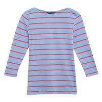 M&S Womens Cotton Striped Slash Neck Fitted Top - 6 - Blue Mix, Blue Mix