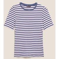 M&S Womens Pure Cotton Striped Regular Fit T-Shirt - 8 - Pink Mix, Pink Mix
