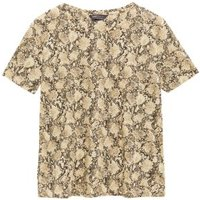 M&S Womens Animal Print Crew Neck Relaxed T-Shirt - 6 - Brown Mix, Brown Mix
