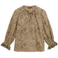 M&S Womens Pure Cotton Animal Print Tie Neck Blouse - 6 - Neutral Brown, Neutral Brown