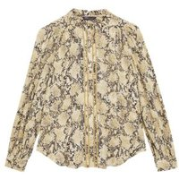 MandS Womens Printed Frill Neck Long Sleeve Blouse - 6 - Neutral, Neutral,Blue Mix