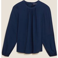 M&S Womens Textured High Neck Button Detail Blouse - 8 - Navy, Navy,Onyx