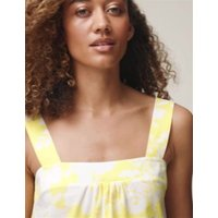 M&S Womens Pure Cotton Floral Square Neck Top - 8 - Yellow Mix, Yellow Mix,Blue Mix