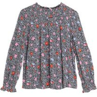 MandS Womens Floral Relaxed Smocked Blouse - 8 - Pink Mix, Pink Mix,Black Mix