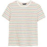 M&S Womens Pure Cotton Striped Crew Neck T-Shirt - 8 - Ivory Mix, Ivory Mix