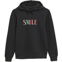 M&S Womens Cotton Smile Slogan Relaxed Hoodie - 6 - Black Mix, Black Mix