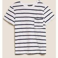M&S Womens Pure Cotton Striped Crew Neck T-Shirt - 12 - Navy Mix, Navy Mix,Pink Mix,Blue Mix