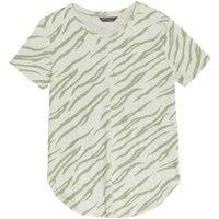 M&S Womens Pure Cotton Printed Longline T-Shirt - 6 - Khaki Mix, Khaki Mix