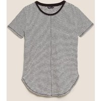 M&S Womens Pure Cotton Striped Longline T-Shirt - 8 - Black Mix, Black Mix