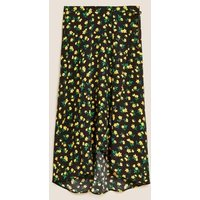 M&S Womens Floral Midaxi Wrap Skirt - 6REG - Black Mix, Black Mix