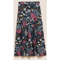 M&S Womens Floral Midaxi Tiered Skirt - 8LNG - Black Mix, Black Mix,Navy Mix